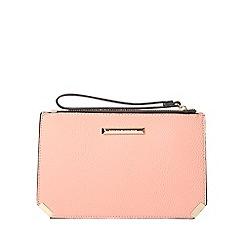 Dorothy Perkins - Peach metal corner wristlet clutch bag