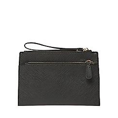 Dorothy Perkins - Black double zip wristlet clutch