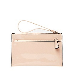 Dorothy Perkins - Nude double zip wristlet clutch