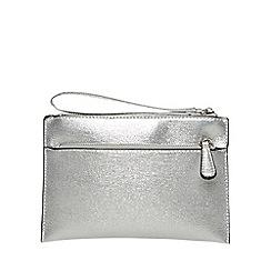 Dorothy Perkins - Silver double zip wristlet clutch