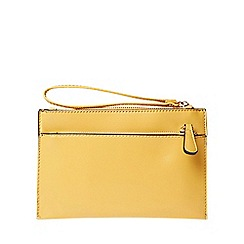 Dorothy Perkins - Yellow double zip wristlet clutch