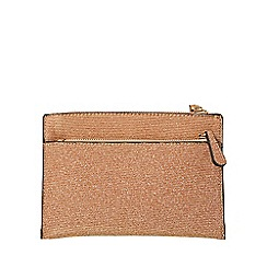 Dorothy Perkins Pale Gold Double Zip Wristlet Clutch Bag