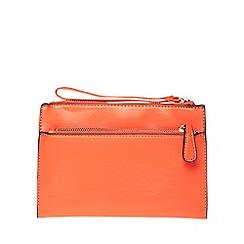 Dorothy Perkins - Orange double zip wristlet bag