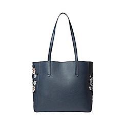 Dorothy Perkins - Navy embroidered side shopper bag