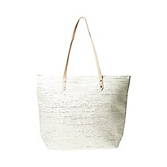 Dorothy Perkins - Neutral shimmer beach shopper bag