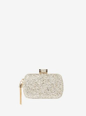 Dorothy Perkins   Gold Glitter Box Clutch Bag by Dorothy Perkins