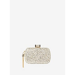 Dorothy Perkins - Gold glitter box clutch bag