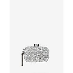Dorothy Perkins - Silver glitter box clutch bag