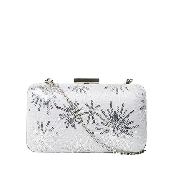 Dorothy sequin bag clutch Silver Perkins lace box rfOfA
