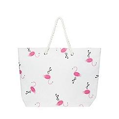 Dorothy Perkins - Neutral flamingo rope shopper bag