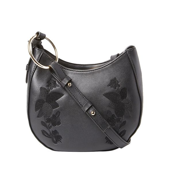 saddle Black Dorothy Perkins embroidered bag body cross PfPHnxz