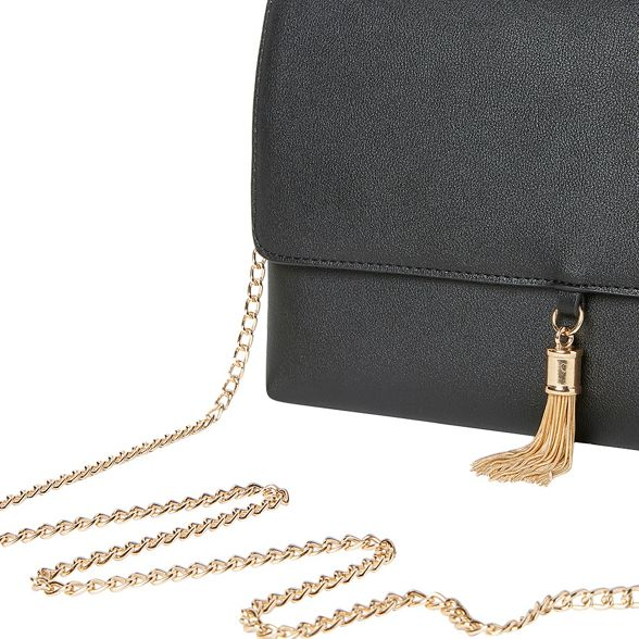 tassel Black metal clutch Dorothy Perkins x5YFtt