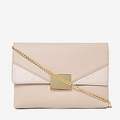 Dorothy Perkins - Nude square hardware clutch bag