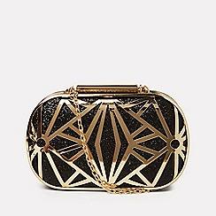 Dorothy Perkins - Black and gold grid box clutch bag