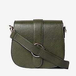 Dorothy Perkins - Olive circle buckle saddle cross body bag