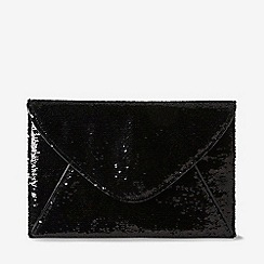 Dorothy Perkins - Black sequin piped clutch bag