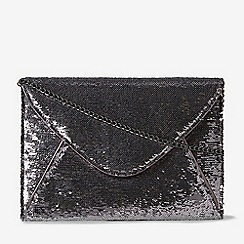 Dorothy Perkins Pewter Sequin Piped Clutch Bag