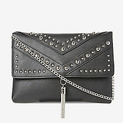 Dorothy Perkins - Black studded tassel clutch bag