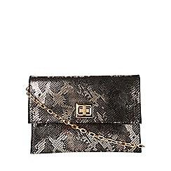 Dorothy Perkins - Metallic snake print twist lock clutch bag