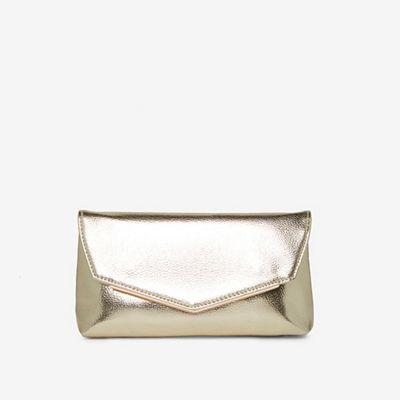 Gold Metal Bar Clutch Bag