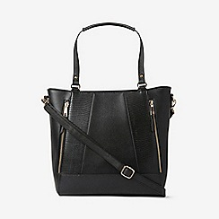 Dorothy Perkins - Black zip detail tote bag