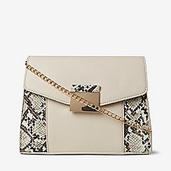 Dorothy Perkins - Ivory snake print panel hardware cross body bag