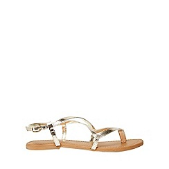 Dorothy Perkins - Gold leather fabia sandals