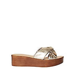 Dorothy Perkins - Gold leather 'rio' comfort wedges