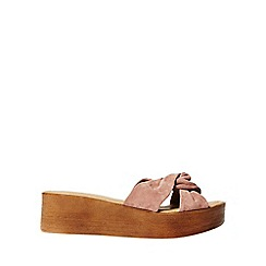 Dorothy Perkins - Blush leather comfort 'rio' wedge sandals