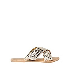 Dorothy Perkins - Gold leather Barbados mules