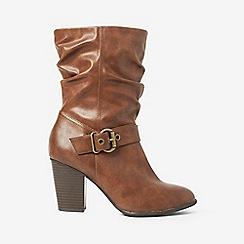Dorothy Perkins - Tan polyurethane klarissa ruched boots