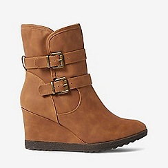 Dorothy Perkins - Tan kim buckle wedge boots