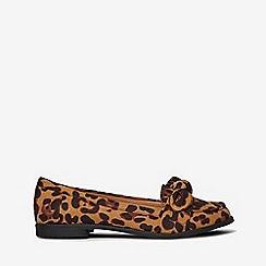 Dorothy Perkins - Leopard microfibre leah bow loafers