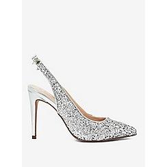 Dorothy Perkins - Silver glitz slingback court shoes