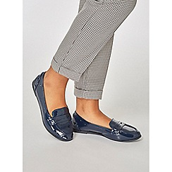 Dorothy Perkins - Navy patent latte loafers