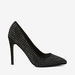 Dorothy Perkins - Black microfiber studded glitter court shoes