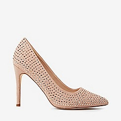 Dorothy Perkins - Nude microfiber studded glitter court shoes