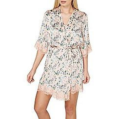 Dorothy Perkins - Pink floral satin kimono style dressing gown