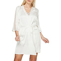 Dorothy Perkins - Ivory spotted mesh kimono style dressing gown