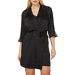 Dorothy Perkins - Black spotted mesh kimono style dressing gown