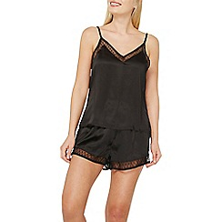 Dorothy Perkins - Black spot mesh camisole top and pyjama set