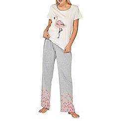 Dorothy Perkins - Grey and pink flamingo pyjama set