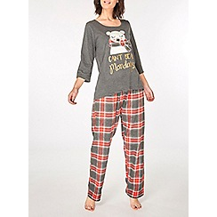 Dorothy Perkins - Grey can't bear monday's pyjama set