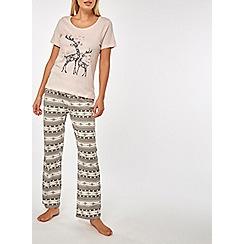 Dorothy Perkins - Pink fairisle reindeer pyjamas