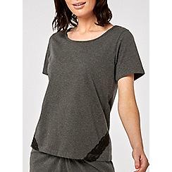 Dorothy Perkins - Grey loungewear lace trim t-shirt