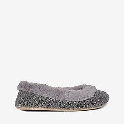 Dorothy Perkins - Grey faux fur trim ballerina slippers