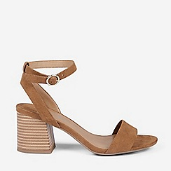 Dorothy Perkins - Wide Fit Brown Shady Block Heeled Sandals