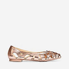 Dorothy Perkins - Wide Fit Rose Gold Tan Perla Weave Pumps