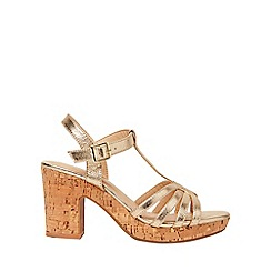 Dorothy Perkins - Wide fit gold rebecca heel sandals