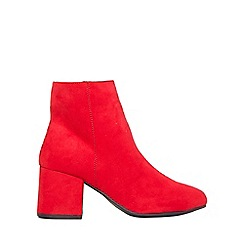 Dorothy Perkins - Wide fit red aubree block-heel ankle boots